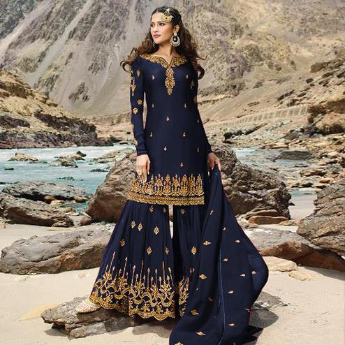 Adorable Blue Colored Designer Partywear Embroidered Heavy Faux Georgette Palazzo Suit