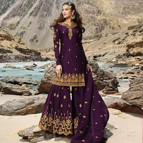 Attractive Purple Colored Designer Partywear Embroidered Heavy Faux Georgette Palazzo Suit