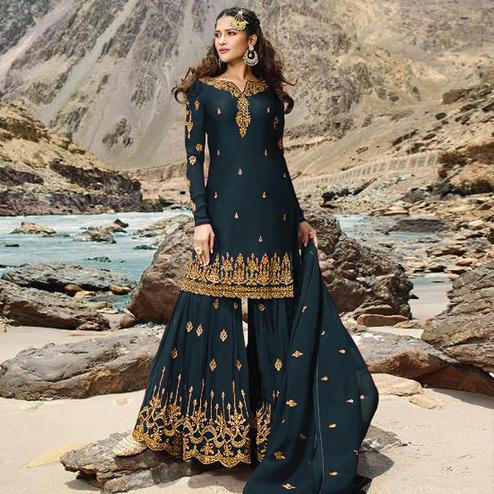 Beautiful Rama Green Colored Designer Partywear Embroidered Heavy Faux Georgette Palazzo Suit