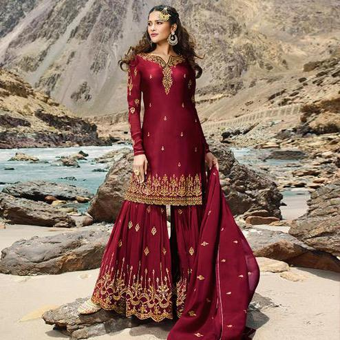 Graceful Red Colored Designer Partywear Embroidered Heavy Faux Georgette Palazzo Suit