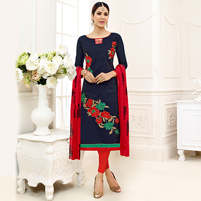 Dazzling Blue - Red Embroidered Chanderi Silk Dress Material