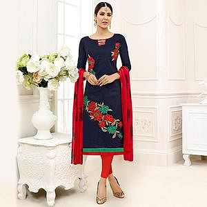 Dazzling Black - Red Embroidered Chanderi Silk Dress Material