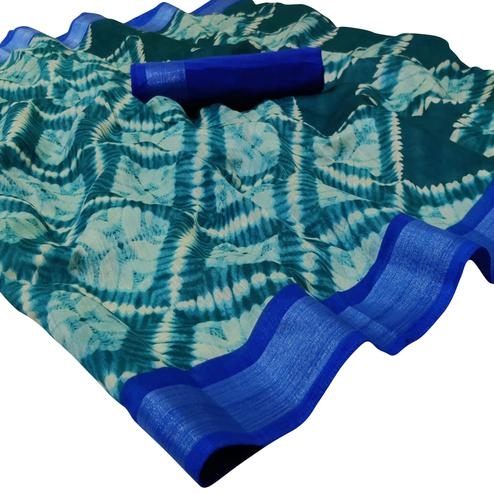 Innovative Blue Colored Casual Wear Printed Linen Saree
