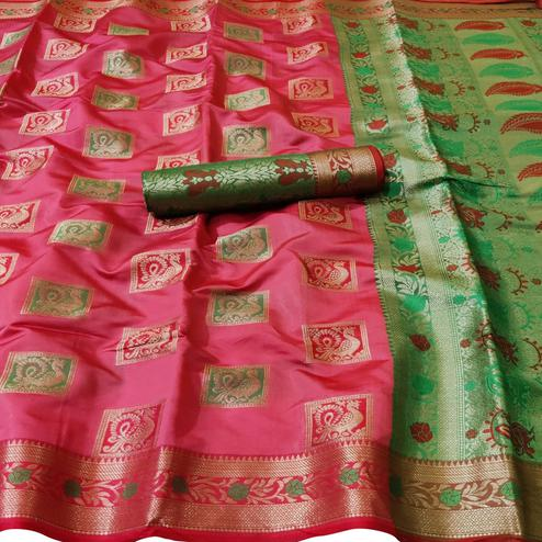 Gorgeous Pink Colored Festive Wear Woven Silk Saree