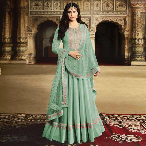 Majesty Sea Green Colored Partywear Embroidered Silk Anarkali Suit