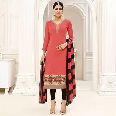 Delightful Pink - Brown Embroidered Chanderi Silk Dress Material
