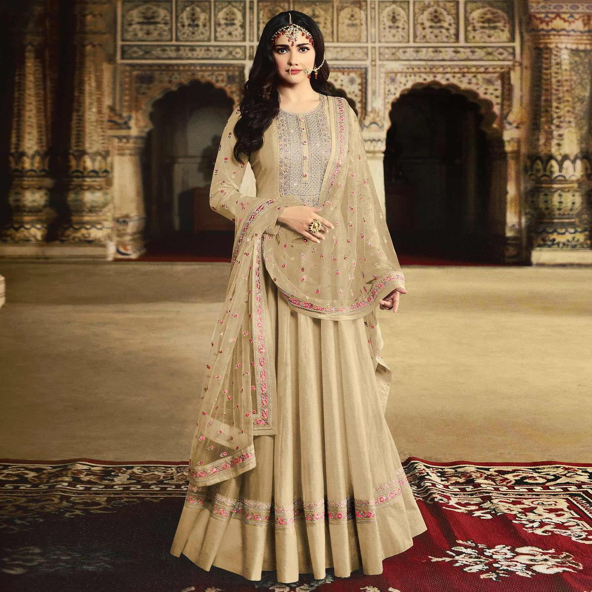 Mesmerising Beige Colored Partywear Embroidered Silk Anarkali Suit