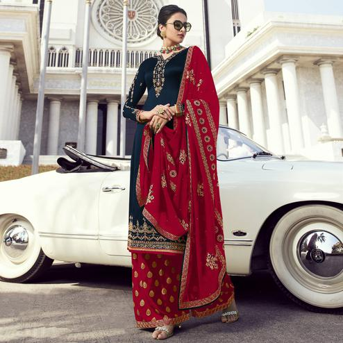 Ethnic Blue Colored Partywear Embroidered Faux Georgette Palazzo Suit
