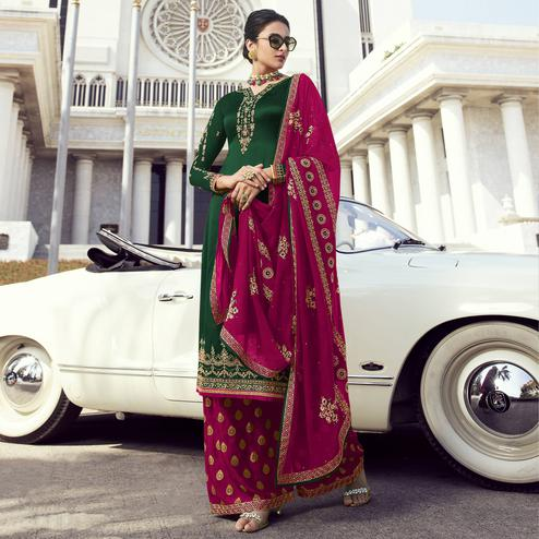 Staring Green Colored Partywear Embroidered Faux Georgette Palazzo Suit