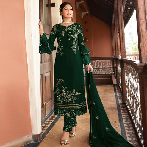 Alluring Green Colored Designer Partywear Embroidered Rangoli Silk Straight Suit