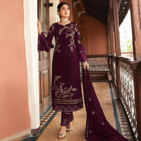 Sensational Wine Colored Designer Partywear Embroidered Rangoli Silk Straight Suit
