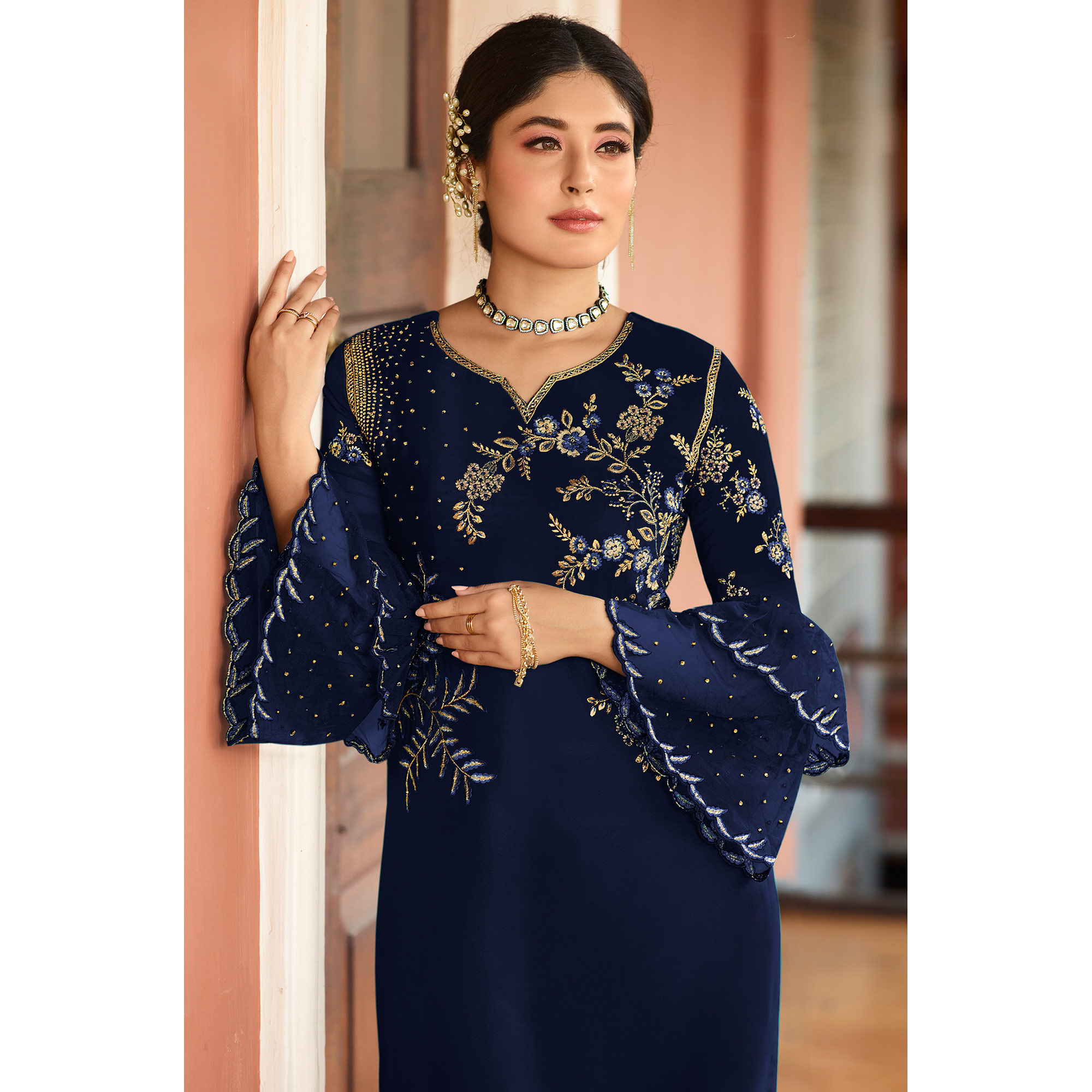 Flaunt Blue Colored Designer Partywear Embroidered Rangoli Silk Straight Suit