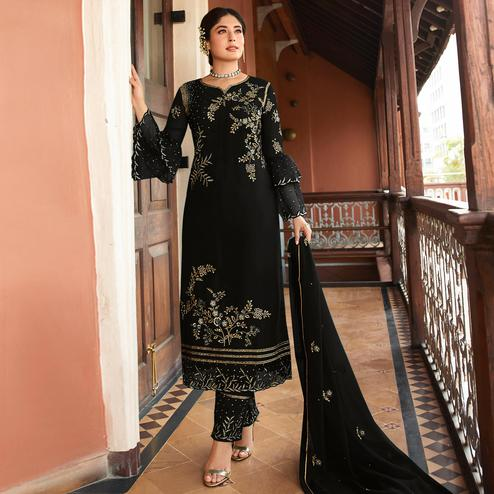 Stunning Black Colored Designer Partywear Embroidered Rangoli Silk Straight Suit
