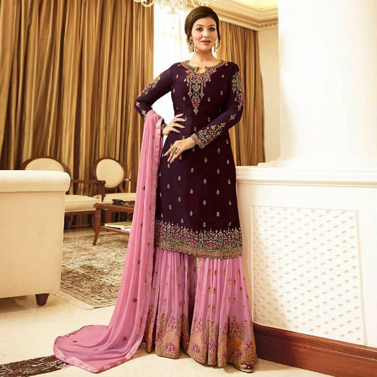 Flattering Purple Colored Designer Partywear Embroidered Faux Georgette Sharara Suit