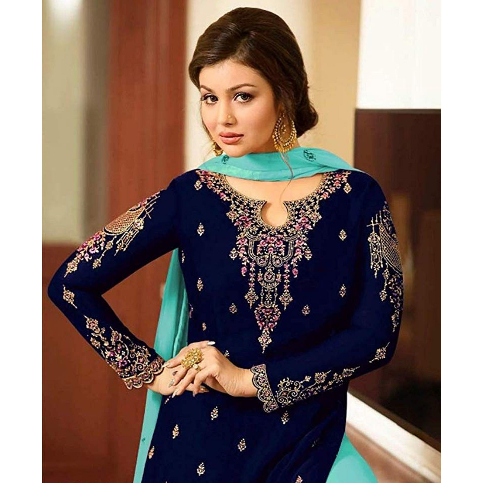Excellent Blue Colored Designer Partywear Embroidered Faux Georgette Sharara Suit