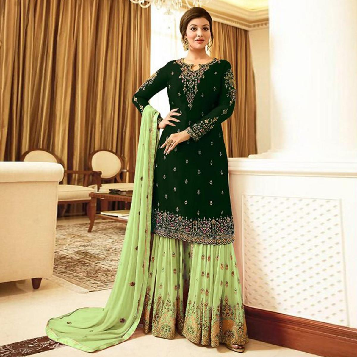 Preferable Green Colored Designer Partywear Embroidered Faux Georgette Sharara Suit