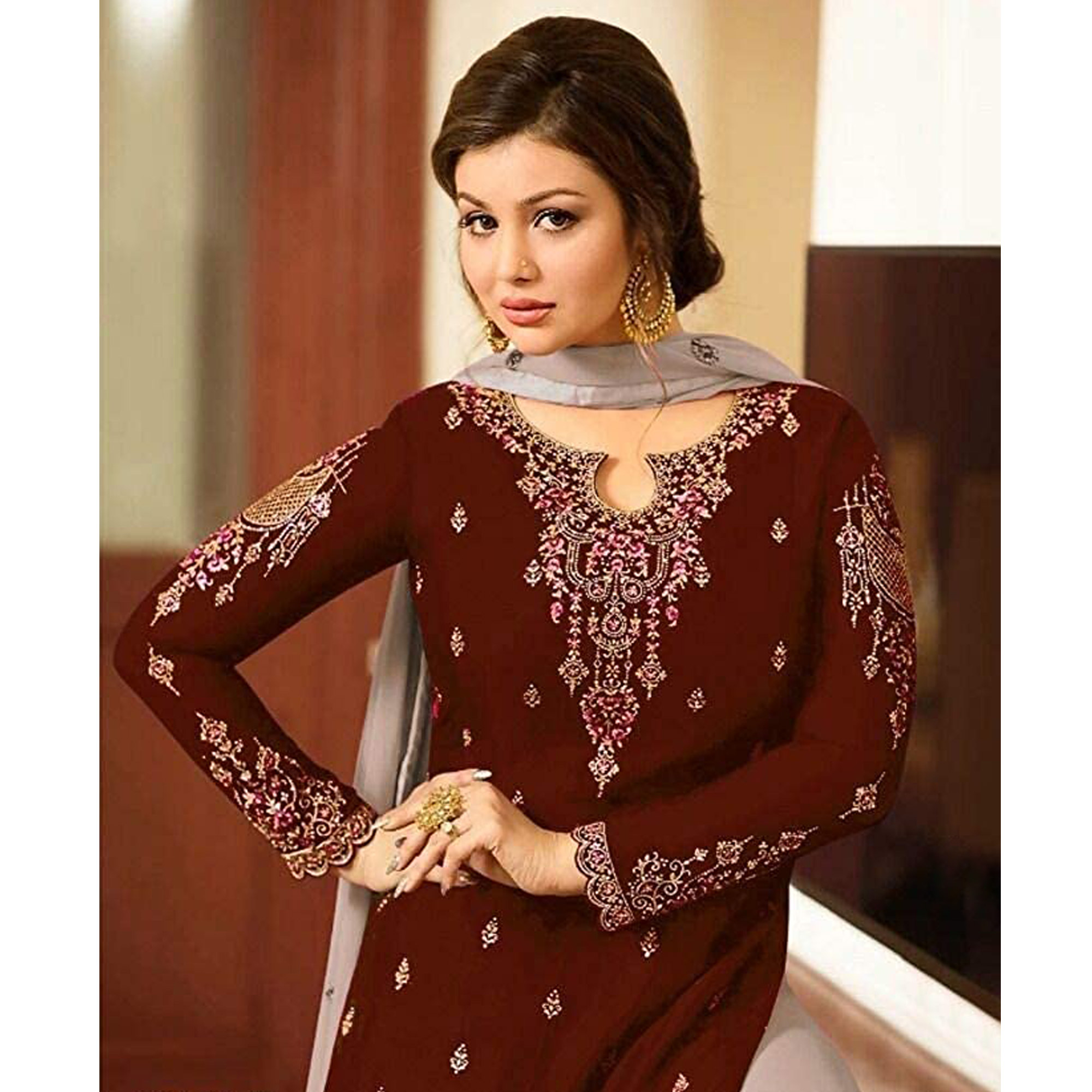 Flamboyant Maroon Colored Designer Partywear Embroidered Faux Georgette Sharara Suit