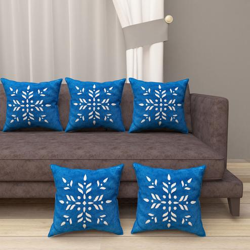 Adirav - Blue Colored Cut Work Sparkle Cushion Covers - Set Of 5