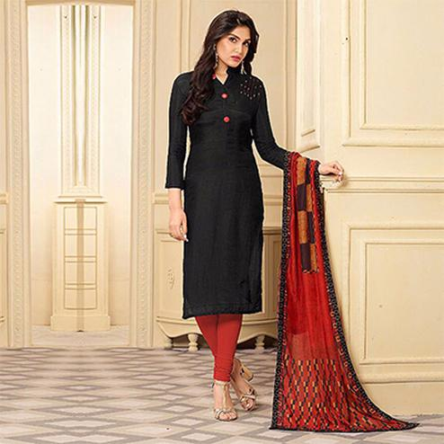Elegant Black Muslin Cotton Salwar Suit