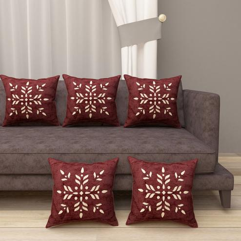 Adirav - Brown Colored Cut Work Sparkle Cushion Covers - Set Of 5