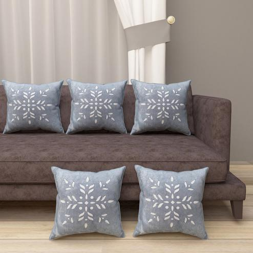 Adirav - Grey Colored Cut Work Sparkle Cushion Covers - Set Of 5
