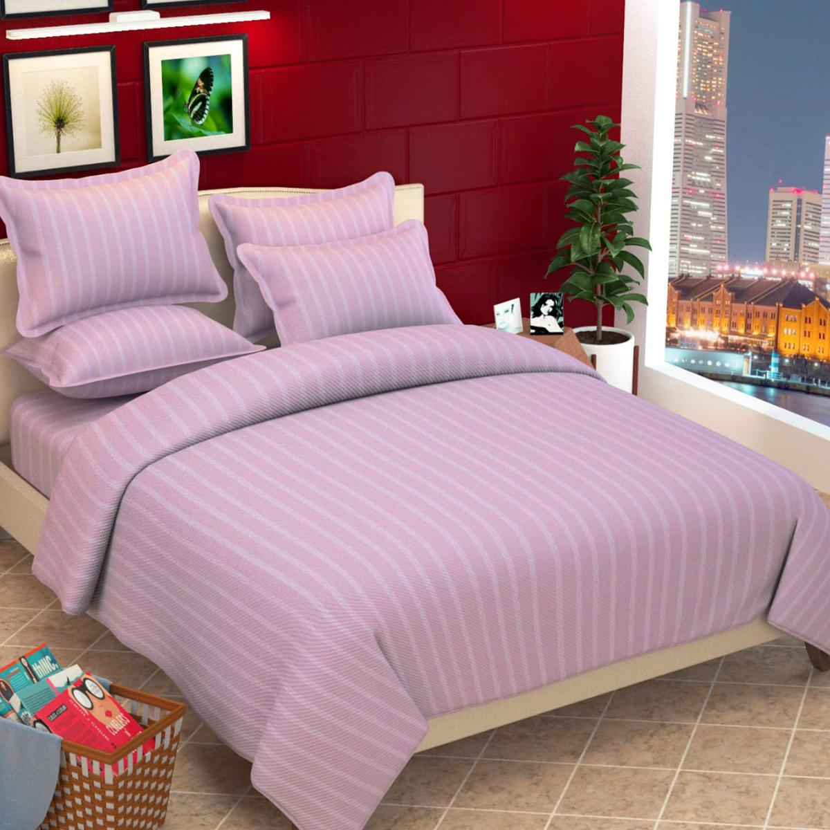 Adirav - Purple Colored Striped King Size Pure Cotton Bedsheet With 2 Pillow Cover