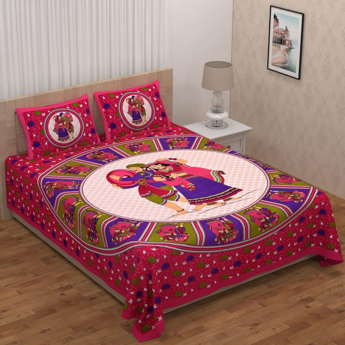 Adirav - Pink Colored Printed Double Jaipuri Pure Cotton Bedsheet With 2 Pillow Cover.