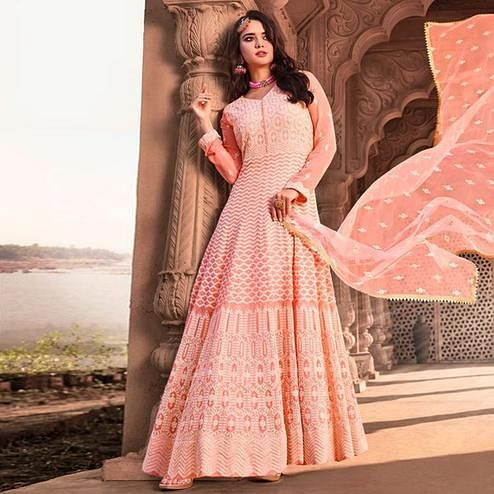 Arresting Light Pink Colored Partywear Embroidered Pure Viscose Georgette Anarkali Suit