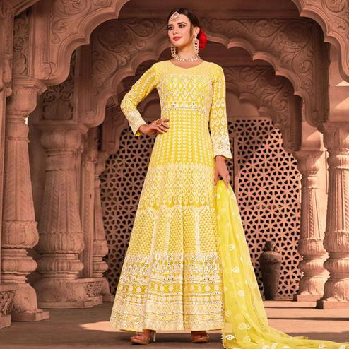 Desirable Pastel Yellow Colored Partywear Embroidered Pure Viscose Georgette Anarkali Suit