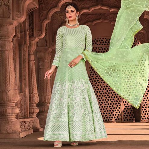 Exotic Light Green Colored Partywear Embroidered Pure Viscose Georgette Anarkali Suit