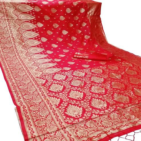 Gleaming Red Colored Festive Wear Woven Banarasi Silk Saree