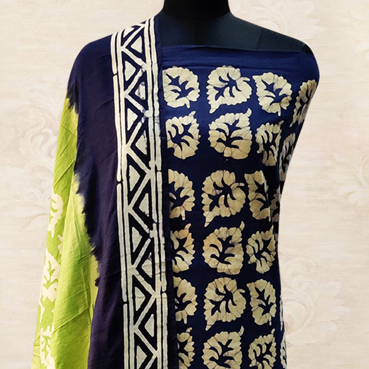 IRIS - Navy Blue Colored Casual Hand Wax Batik Printed Cotton Dress Material