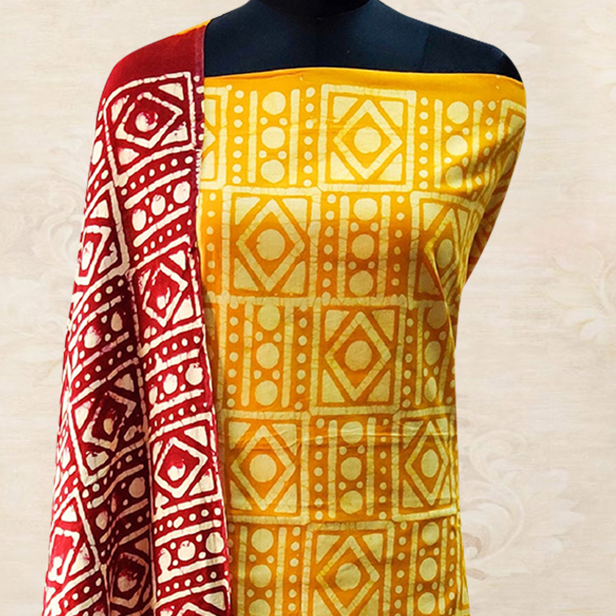 IRIS - Yellow Colored Casual Hand Wax Batik Printed Cotton Dress Material