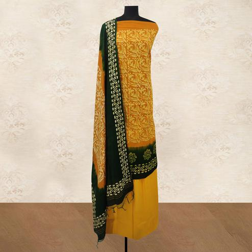 IRIS - Mustard Yellow Colored Casual Hand Wax Batik Printed Cotton Dress Material