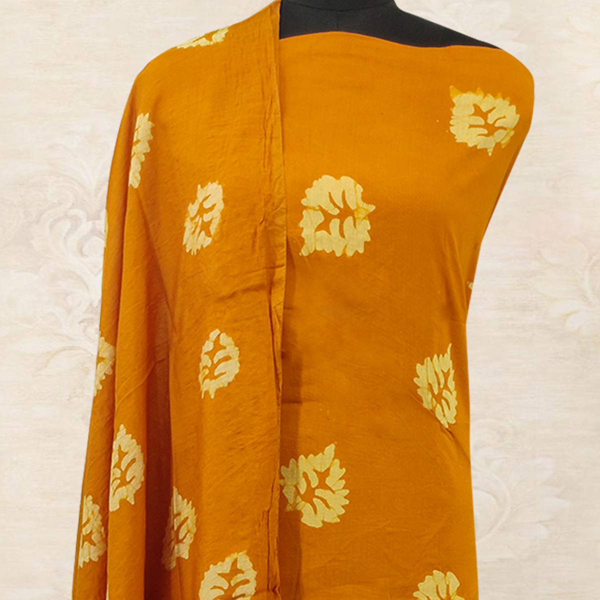 IRIS - Orange Colored Casual Hand Wax Batik Printed Cotton Dress Material