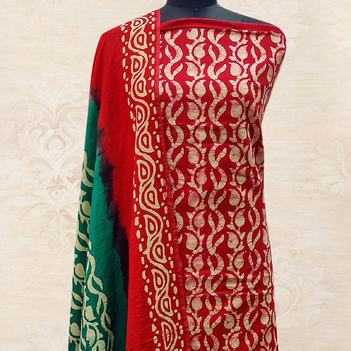 IRIS - Red Colored Casual Hand Wax Batik Printed Cotton Dress Material