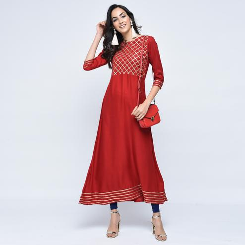 Innovative Maroon Colored Partywear Rayon Kurti