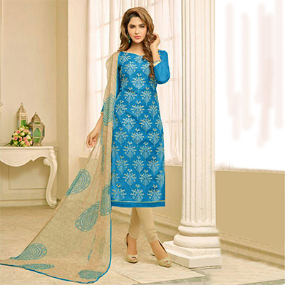 Blue Printed Unstitched Dress Material