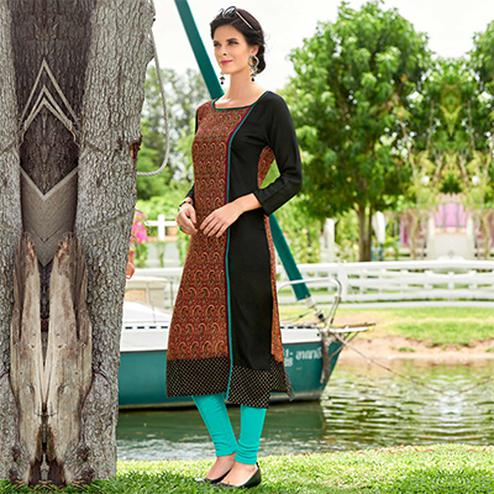 Brown & Black Rayon Cotton Printed Designer Kurti