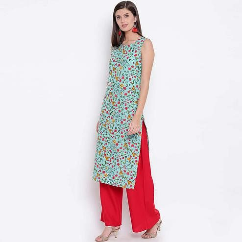 Eye-catching Sea Green Colored Casual Wear Floral Printed Cotton Kurti-Palazzo Set