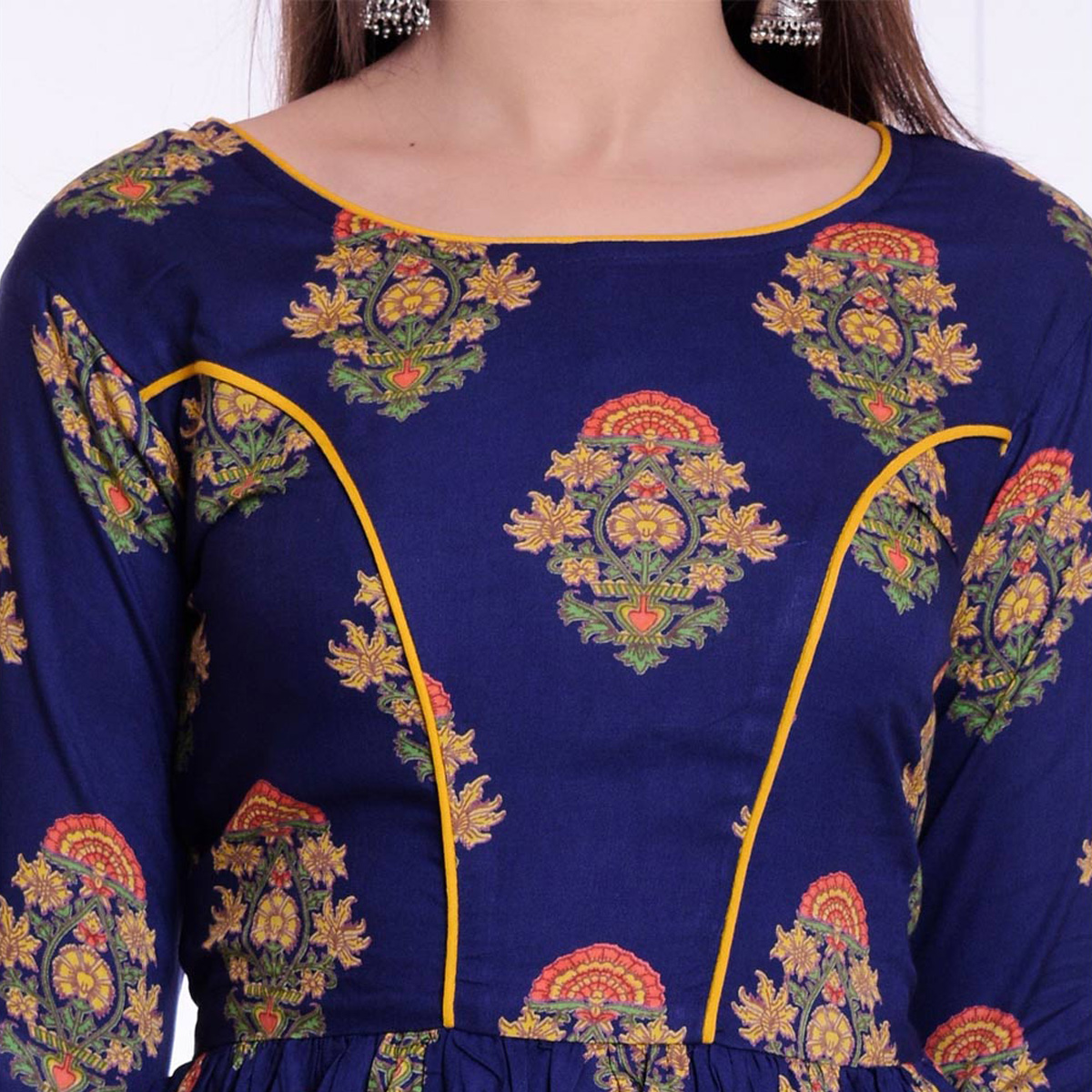 Glorious Blue Colored Casual Wear Floral Printed Rayon Kurti