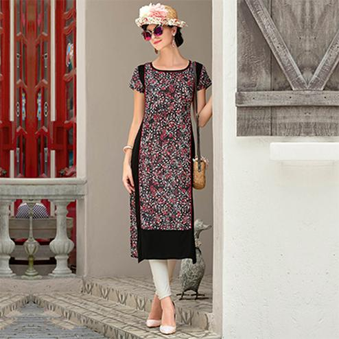 Black Rayon Cotton Printed Designer Kurti