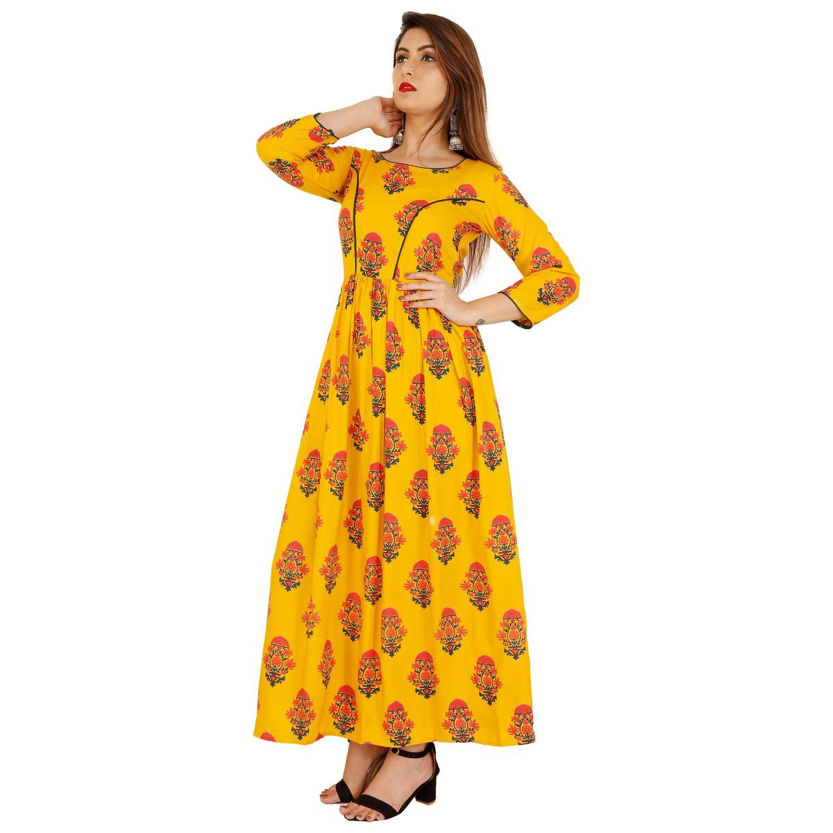Attractive Mustard Yellow Colored Casual Wear Floral Printed Rayon Kurti