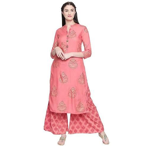 Amazing Pink Colored Party Wear Foil Printed Cotton Kurti-Palazzo Set