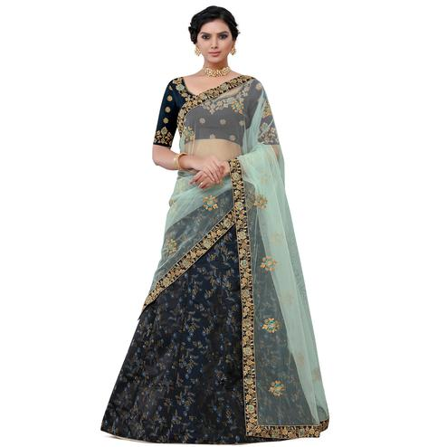 Desirable Navy Blue Colored Party Wear Floral Embroidered jacquard Lehenga Choli