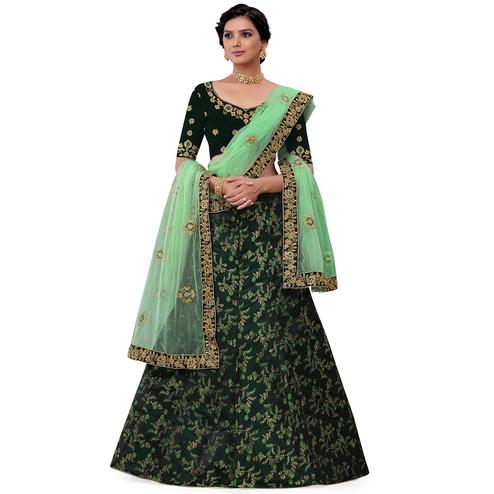 Pleasant Green Colored Party Wear Floral Embroidered jacquard Lehenga Choli