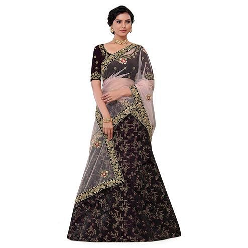 Opulent Wine Colored Party Wear Floral Embroidered jacquard Lehenga Choli