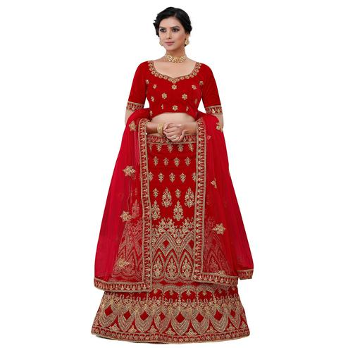 Radiant Red Colored Party Wear Floral Embroidered Velvet Lehenga Choli