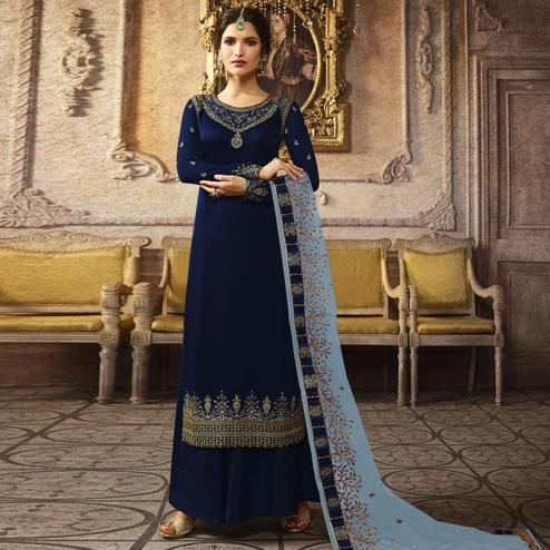 Desirable Navy Blue Colored Designer Partywear Embroidered Heavy Chinon Silk Palazzo Suit