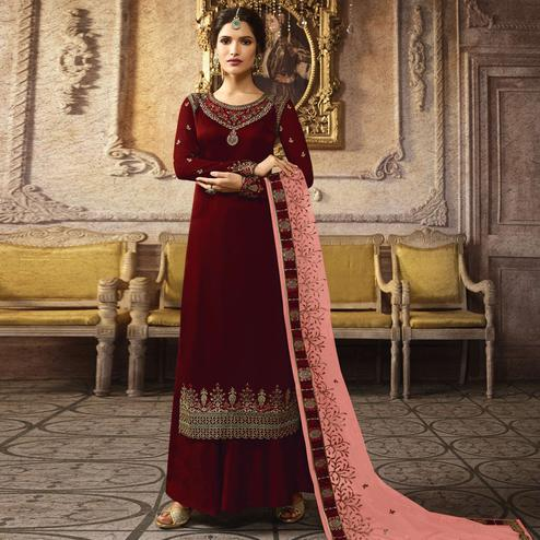 Exotic Maroon Colored Designer Partywear Embroidered Heavy Chinon Silk Palazzo Suit